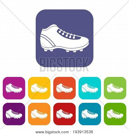 Baseball cleat icons set vector illustration in flat style In colors red, blue, green and other