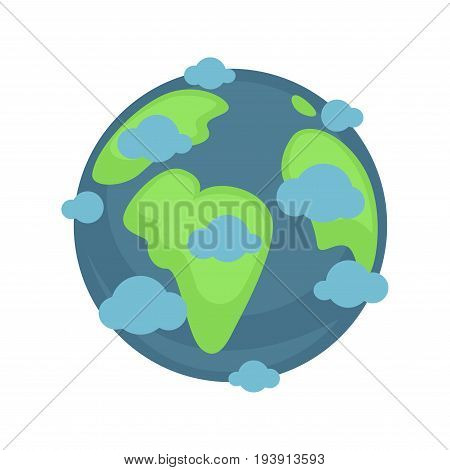 Earth planet under blue clouds colorful graphic illustration. Vector poster in flat design of isolated astronomical body in round shape for safe live beings living with water and many islands