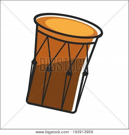 Aboriginal drum in brown color closeup graphic poster. vector colorful illustration of isolated tomtom musical instrument in round shape for beating it using by tribes in Australia country.