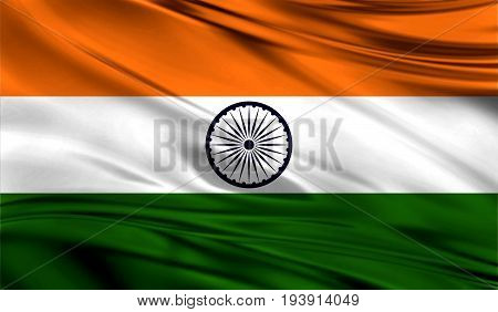 Realistic flag of Flag of India on the wavy surface of fabric. This flag can be used in design