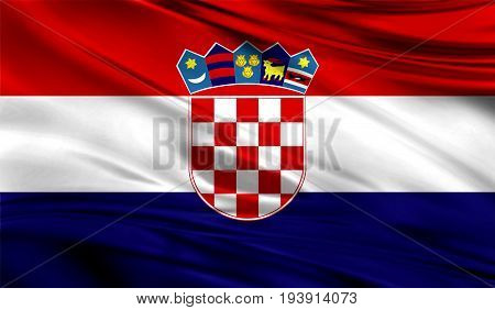Realistic flag of Croatia on the wavy surface of fabric. This flag can be used in design