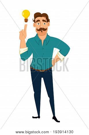 Business man having a brilliant idea. Guy with mustache pointing at lamp idea concept. Vector.