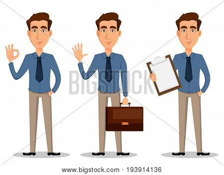 Business man set of 3 poses isolated on white background. Showing ok sigh greeting and with clipboard - stock vector