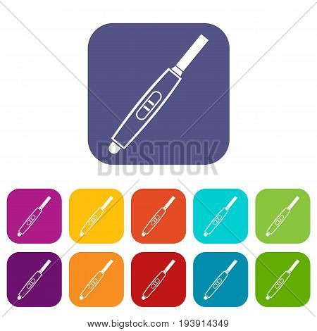 Pregnancy test with positive pregnant icons set vector illustration in flat style In colors red, blue, green and other