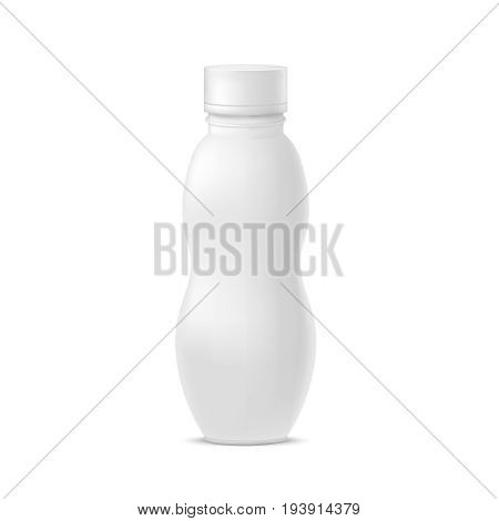 Realistic Template Blank White Yoghurt Bottle Pack Clean Container for Healthy Milk Drink. Vector illustration