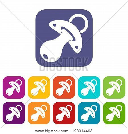 Baby pacifier icons set vector illustration in flat style In colors red, blue, green and other