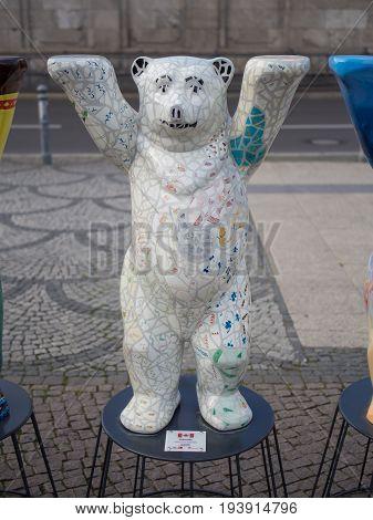 BERLIN GERMANY - JULY 3 2017: United Buddy Bears: Canada Bear At Wittenbergplatz Square In Berlin