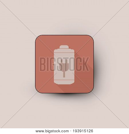 Vector illustration of low battery red colored icon.