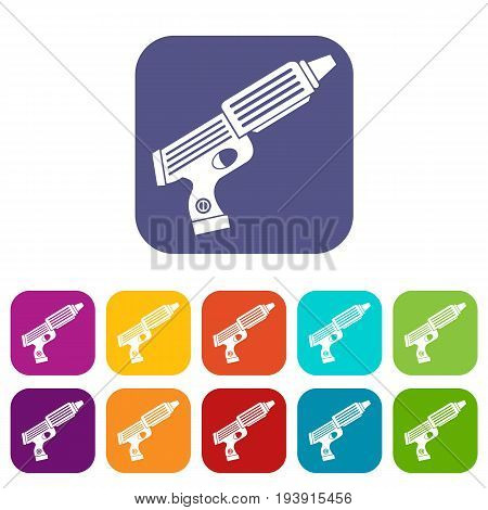 Plastic gun toy icons set vector illustration in flat style In colors red, blue, green and other