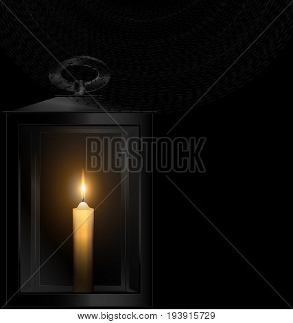 black background and burning candle in the retro lantern with black veil