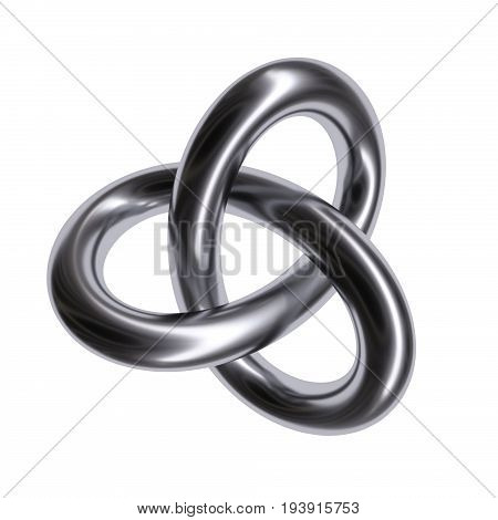 Metal torus knot isolated on white background. 3d image