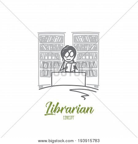 Librarian concept. Hand drawn female librarian in the library. Woman and books on background isolated vector illustration.