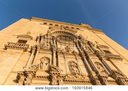 Facade Of The Saint Mary's Cathedral In Gerona, Spain