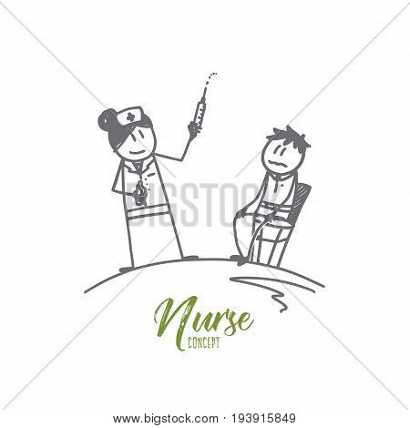 Nurse concept. Hand drawn female nurse with syringe and patient. Vaccination in hospital isolated vector illustration.