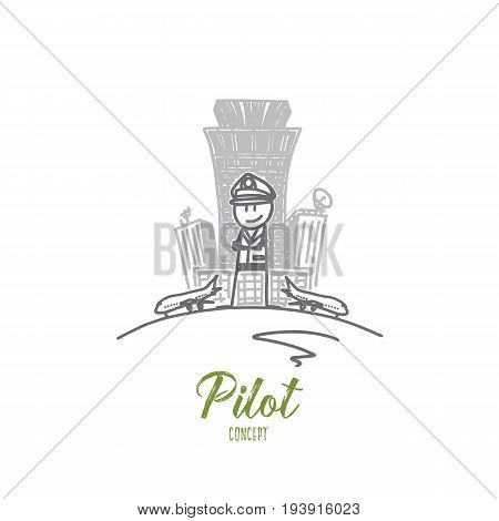 Pilot concept. Hand drawn confident male pilot. Pilot in uniform keeping arms crossed and smiling isolated vector illustration.