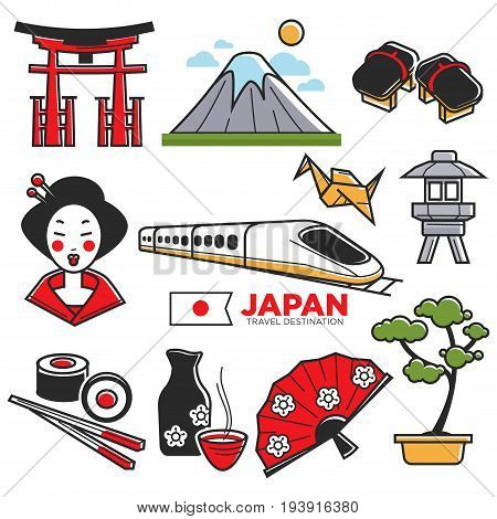 Travel to Japan touristic map with traditional attributes. Vector colorful illustration in graphic design of national Japanese cuisine, means of transportation, cultural sightseeings and spirit