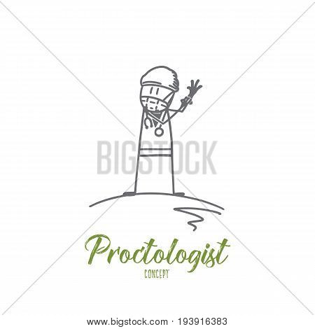 Proctologist concept. Hand drawn doctor pulling on medical gloves. Proctologist waiting for patient isolated vector illustration.