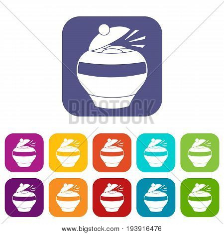 Pot full of gold coins icons set vector illustration in flat style In colors red, blue, green and other
