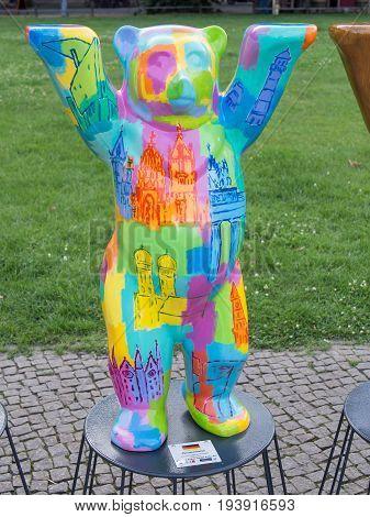 BERLIN GERMANY - JULY 3 2017: United Buddy Bears: Germany Bear At Wittenbergplatz Square In Berlin