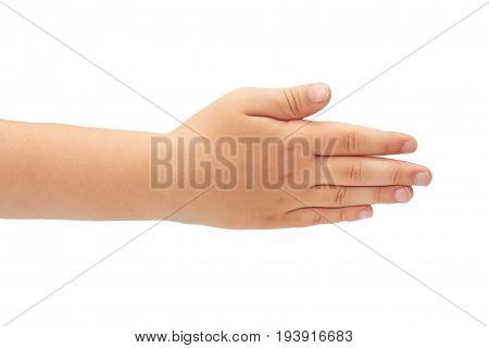 Hand Of Kids Hand Gesture Of Greeting. Isolated On White Background
