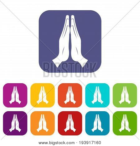 Prayer icons set vector illustration in flat style In colors red, blue, green and other