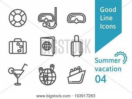 Summer vacation outline icons set 04. Diving mask, lifebuoy, cruise ship, passport and other linear symbols