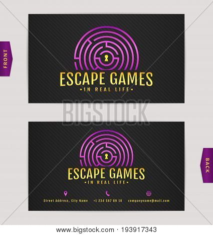 Business card design with labyrinth. Vector template for escape games and quest rooms.
