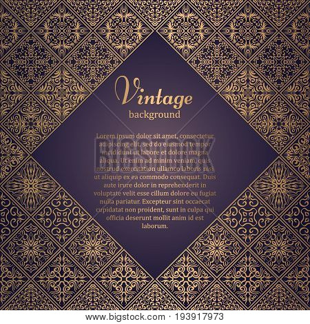 Premium Frame In Oriental Style. Mosaic Background. Islamic Card With Place For Text. Arabic, Indian