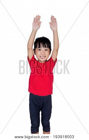 Asian Chinese Little Girl Holding Her Hands Up