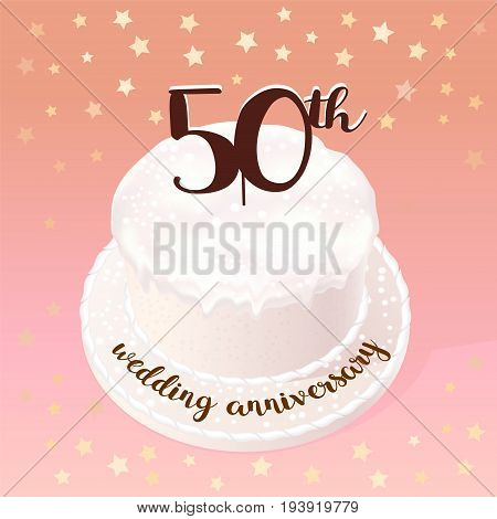 50 years of wedding or marriage vector icon illustration. Design element with celebration cake for 50th wedding anniversary