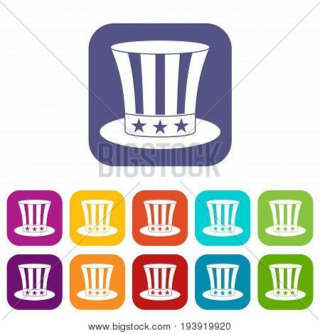 Uncle sam hat icons set vector illustration in flat style In colors red, blue, green and other