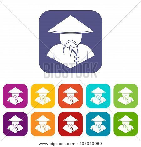 Asian man in conical hat icons set vector illustration in flat style In colors red, blue, green and other