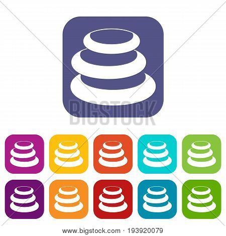 Stack of basalt balancing stones icons set vector illustration in flat style In colors red, blue, green and other