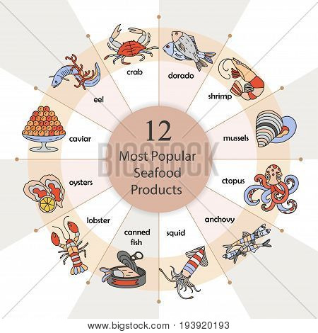 Most popular seafood. Seafood infographic. Modern vector illustration.
