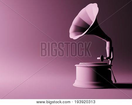 Vintage gramophone n pink background, 3d render