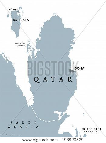 Qatar political map with capital Doha. State and sovereign country in Western Asia on northeastern coast of Arabian Peninsula. Gray illustration isolated on white background. English labeling. Vector.