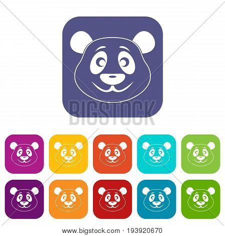Panda icons set vector illustration in flat style In colors red, blue, green and other