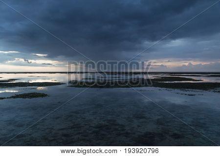 Blue Raincloud at the ocean after sunset, Gili Air, Lombok, Indonesia