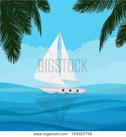 white sailboat sailing in blue clear water nature adventure holiday vector