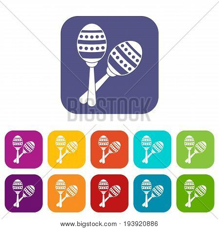 Maracas icons set vector illustration in flat style In colors red, blue, green and other