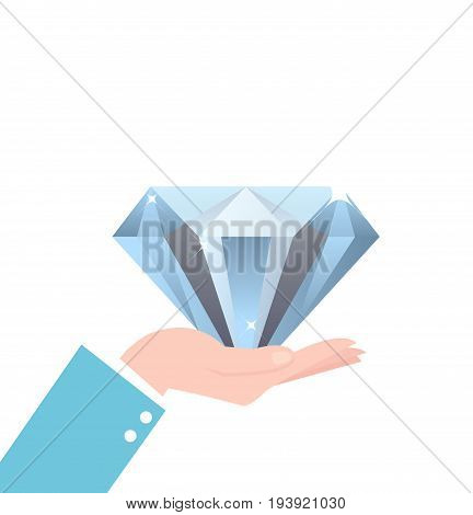 hand holding big diamond concept of rich brilliant in business vector