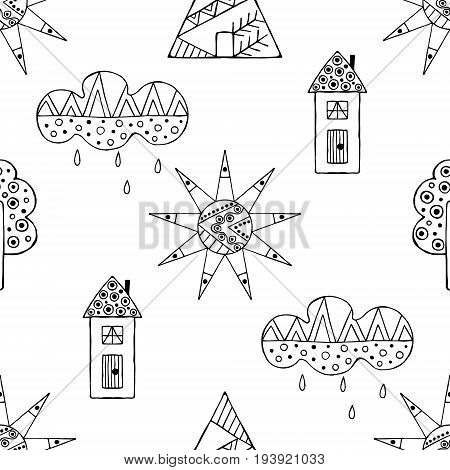 Vector Hand Drawn Seamless Pattern, Decorative Stylized Black And White Childish Houses, Trees, Sun,