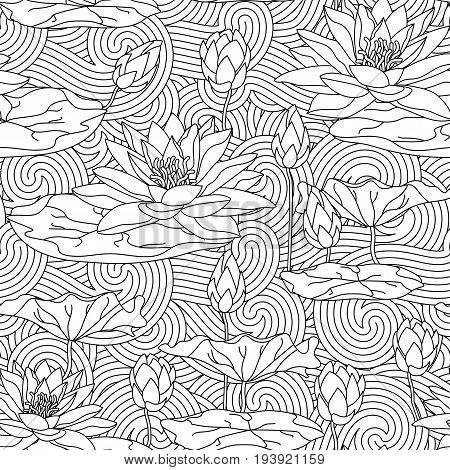Adult antistress coloring page with water lily - seamless pattern. Cards with lotus leaves. Can be used for Invitation to the wedding or background.