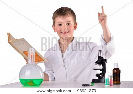 Glad science boy find solution in the book white background