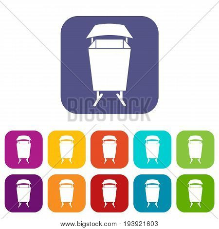 Litter waste bin icons set vector illustration in flat style In colors red, blue, green and other