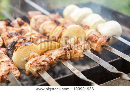 Meat And Onions On Skewers,  Zucchini And Mushrooms On Skewer Are Grilling On Charcoal