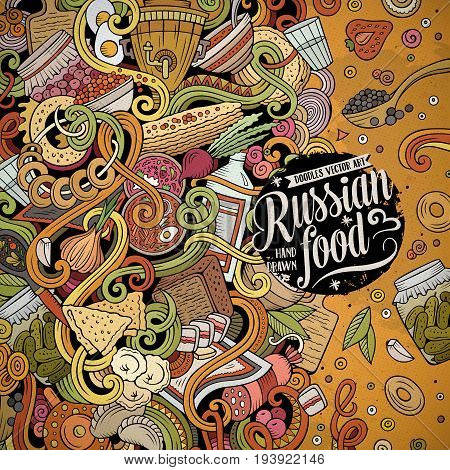 Cartoon cute doodles hand drawn Russian food frame design. Colorful detailed, with lots of objects background. Funny vector illustration. Bright colors border with cuisine theme items