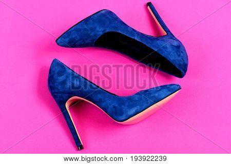 Pair Of Fancy Suede Female Shoes, Topview. High Heel Footwear