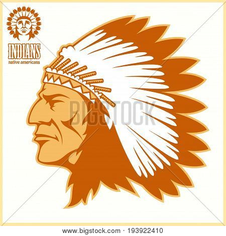 american native chief head - vector illustration on light background.
