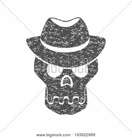 Skull in the hat. Grunge print for t-shirt